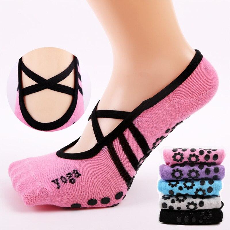 ①  CKAHSBI Женщины Anti Slip Bandage Хлопок Спортивные Йога Носки Женские Вентиляционные Балетные Носки ✔