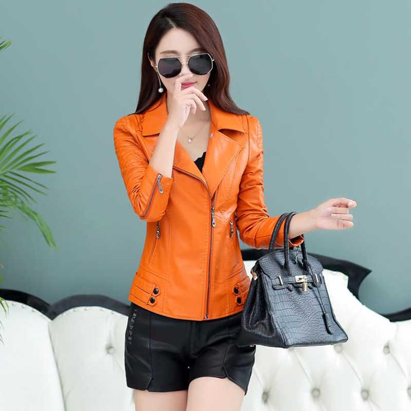 Летние реальные большой Размеры M-5xl Для женщин куртка-бомбер Оранжевый кожаная куртка 2018 Осень Новая мода Короткие мотоциклетные красный дубленка 264