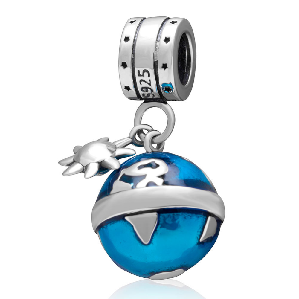 Blue Globe Pendant Charms Original 925 sterling silver Beads Fit Pandora Charm Bracelets DIY Jewelry for Women