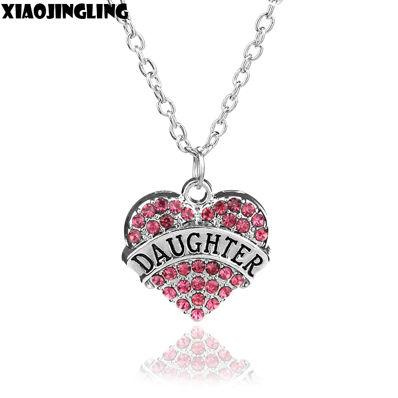 "XIAOJINGLING 6 Styles Peach Heart Necklace Jewelry Pink Crystal ""Hope Believe Faith Niece Aunt Daughter""Heart Pendant Necklaces"