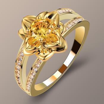 Cute kobiet panie żółty kamień pierścień moda złoty kolor ślub kwiat pierścionki biżuteria obietnica miłość pierścionki zaręczynowe dla kobiet tanie i dobre opinie Kobiety Miedzi Cyrkonia Zaręczyny Śliczne Romantyczny PLANT SMT5053 Zespoły weselne Prong ustawianie Nastrój tracker