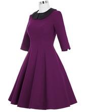 2017 Women Dress Robe Femme 3/4 Sleeve Fashion Vintage Rockabilly Party Dress Jurken 50s 60s Casual Autumn Winter Swing Dress