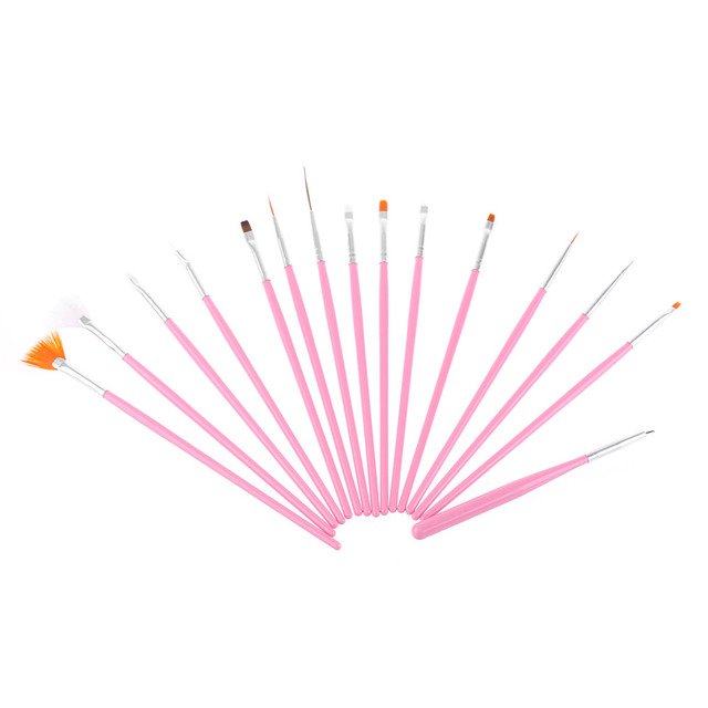 15Pcs/Set Useful Convenient New Professional UV Gel Acrylic Nail Art Draw Painting Brushes Liner Pink Pen Set Tools Makeup Brushes