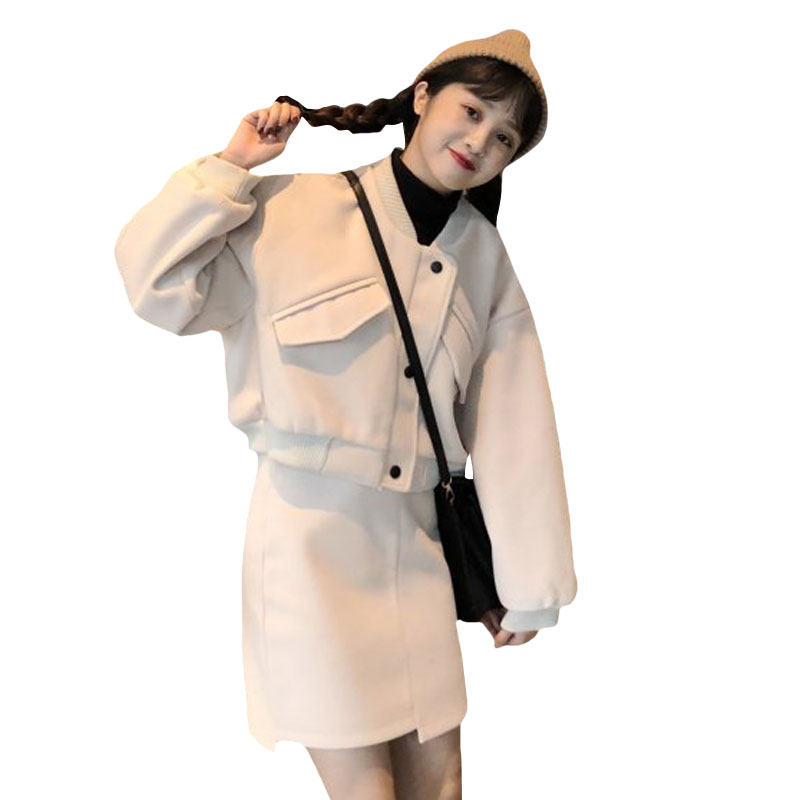 2019 mode coréenne femme ensembles automne hiver laine veste courte + irrégulière un mot jupe 2 deux pièces ensemble femmes vêtements roupas