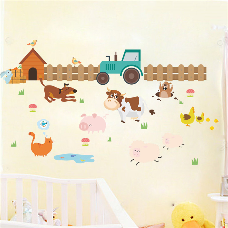 Kids Room Wall Decals Farm Wall Decals Farm Animal Decals: Farm Animals Wall Stickers Kids Room Decorations Adesivos