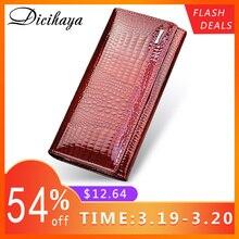 DICIHAYA из натуральной кожи Для женщин кошельки пара длинные дамы двойной кошелек-клатч на молнии сумка дизайн красный кошелек бумажники из крокодила