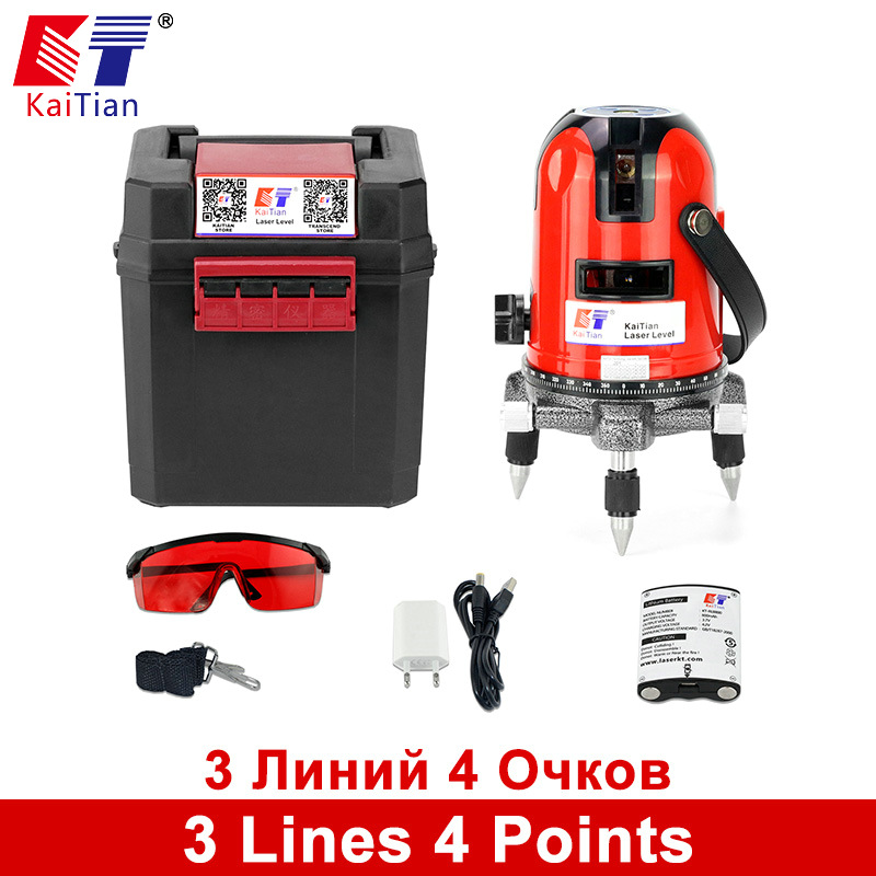KaiTian Laser Level 3 Lines 4 Points Self Leveling Tilt Function 360 Rotary Outdoor Vertical Horizontal Lasers beam Battery купить