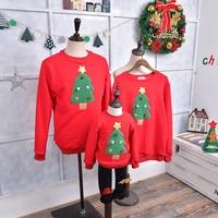 2017 Fashion Winter Warm Christmas Tree Pattern Family Matching Outfits Clothing Kids T Shirt Add Wool