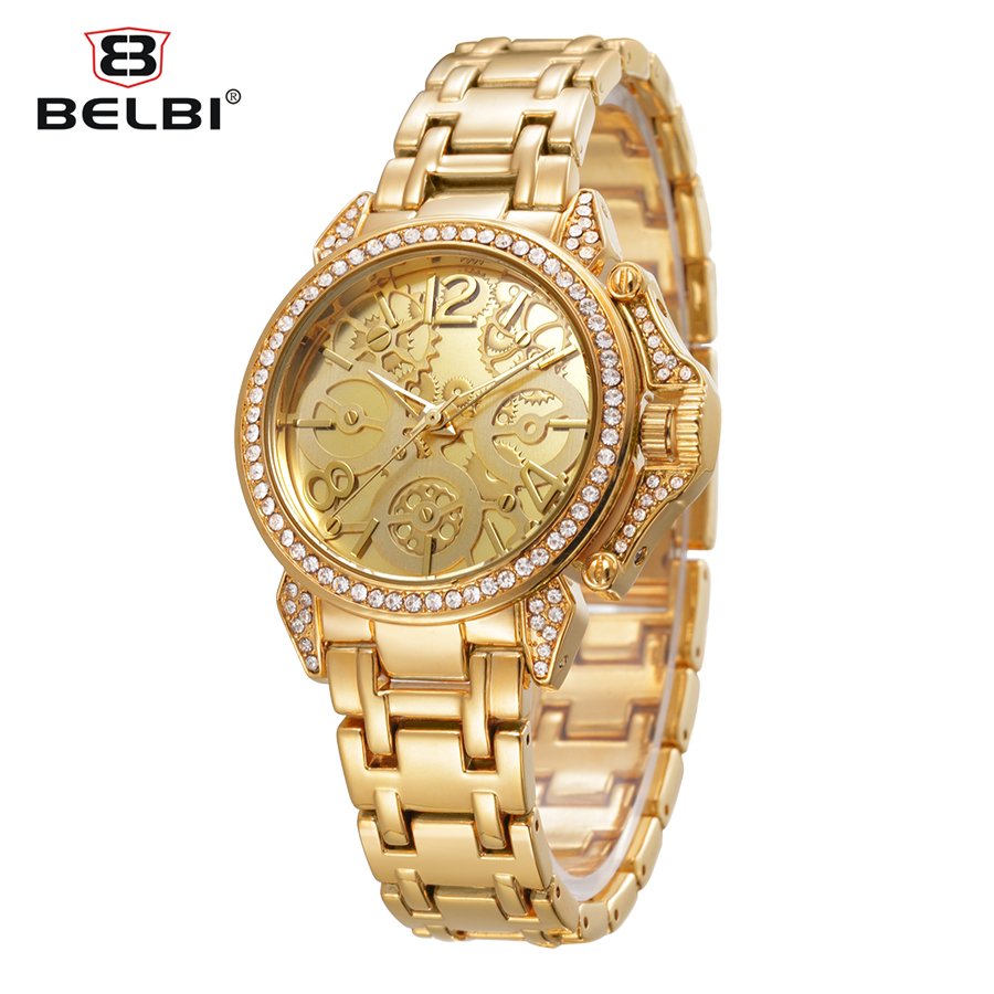 2016 belbi fashion gold wristwatch steel