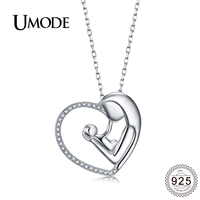 64469bbdf5c8 UMODE Baby Mom Gifts Kiss Heart Sterling 925 Silver Necklaces Pendants For  Women Female Fashion Jewelry