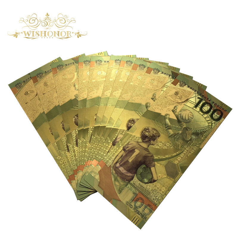 10pcs/lot Nice Color Russia World Cup Banknotes 100 Roubles Banknote in 24k Gold Paper Money For Collection And Gifts
