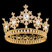 Gold Color Bridal Tiaras Crowns Full Crystal Rhinestone Sun Flower Wedding Hairband Crown for Women Hair Jewelry Accessories