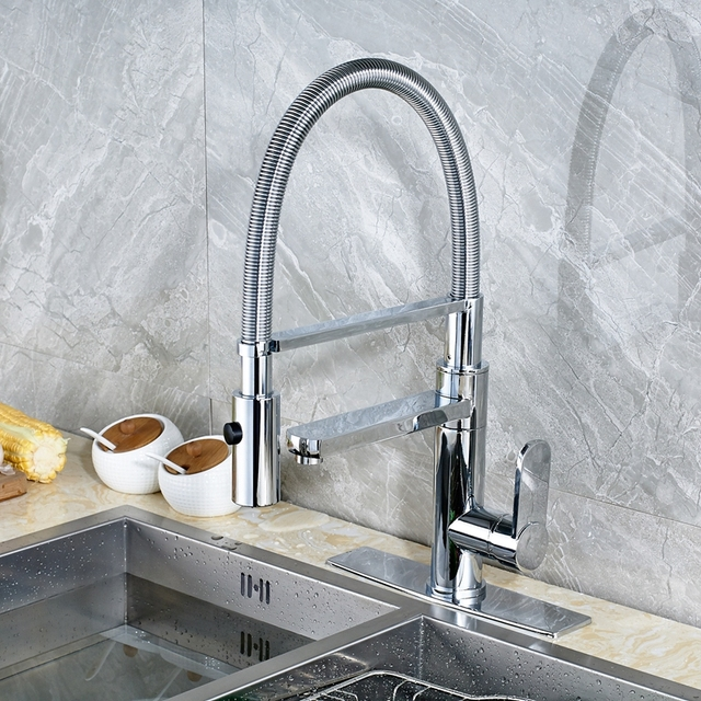 Modern Deck Mounted Single Handle Kitchen Sink Faucet Mixer Tap Chrome Swivel With Square Cover