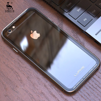 For Apple Iphone 6 Case 6s Metal Bumper Transparent Glass Back Covers Set Phone Cases For