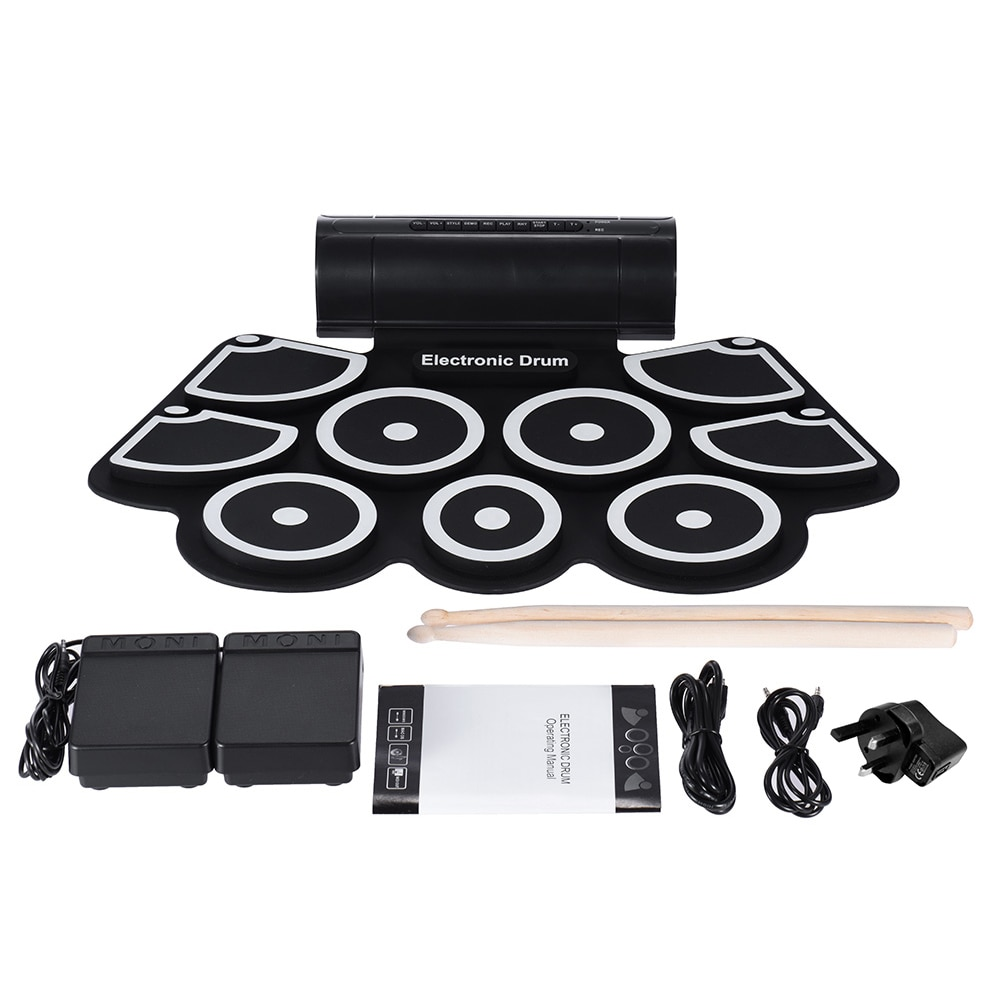 Portable Electronic Roll Up Drum Pad Set 9 Silicon Pads Built-in Speakers with Drumsticks Foot Pedals USB 3.5mm Audio CablePortable Electronic Roll Up Drum Pad Set 9 Silicon Pads Built-in Speakers with Drumsticks Foot Pedals USB 3.5mm Audio Cable