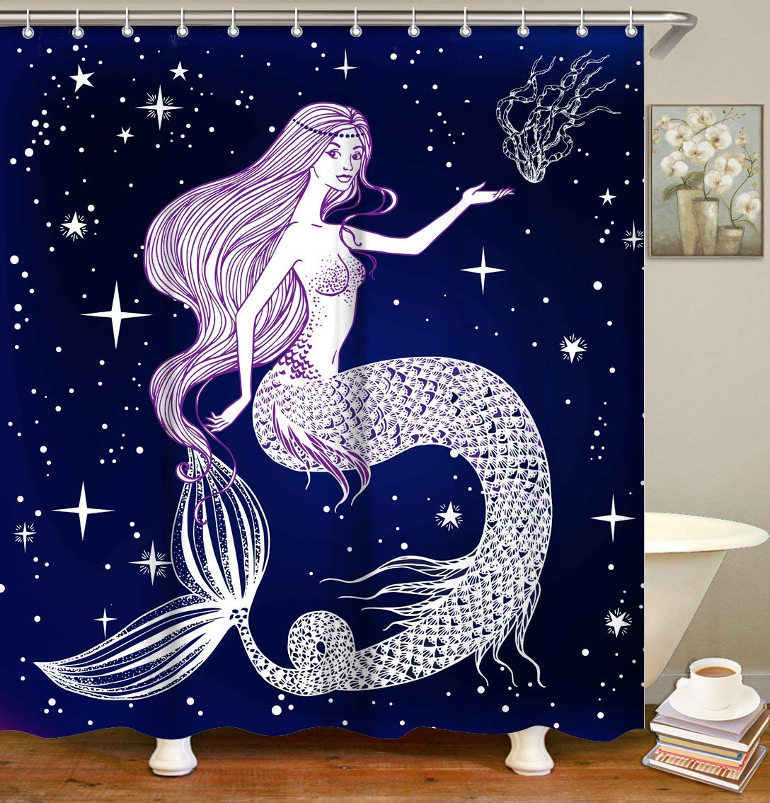 Mermaid Shower Curtain Set With 12 Hooks Fabric Bath Curtain Decorative Bathroom Accessories Home Decoration Purple Shower Curtains Aliexpress