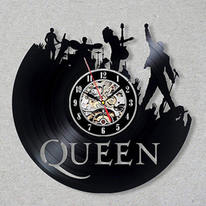 Queen Rock Band Wall Clock Modern Design Music Theme Classic Vinyl Record Clocks Wall Watch Art Home Decor Gifts for Musician image