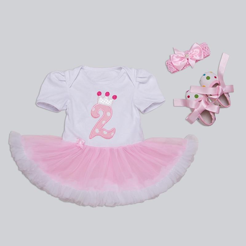 0d3e928125b7 Birthday Dress Romper Baby Girls Cotton Pink Tutu Dress+Headband+ ...