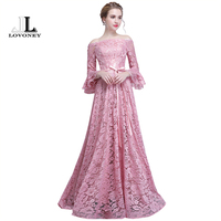 LOVONEY Long Lace Dress Evening Dress 2018 New Arrival Long Sleeves Formal Party Dress Evening Gown