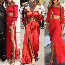 2PC Women's Summer Sexy Tassel  Boho Ruffles Button Split Dress Off Shoulder Long Maxi Cocktail Party Dress