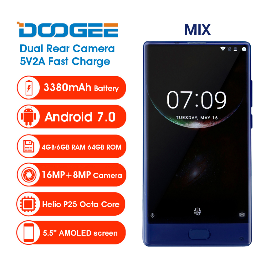 Doogee Mix Mobile Phone 5.5 Helio P25 4GB RAM 64GB Dual Rear Camera 16MP Front Fingerprint 3380mA Smartphone Android Octa Core