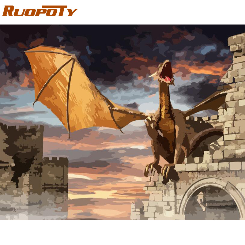 The Latest  RUOPOTY Frame DIY Painting By Numbers Kit Dinosaur Animals Calligraphy Painting Wall Art Picture Ac