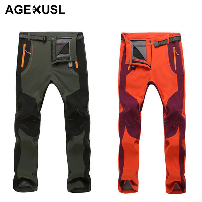 AGEKUSL Winter Men Women Cycling Pants Softshell Thermal Waterproof Sports Trousers Windproof Fleece Outdoor Bike Bicycle Pants цены