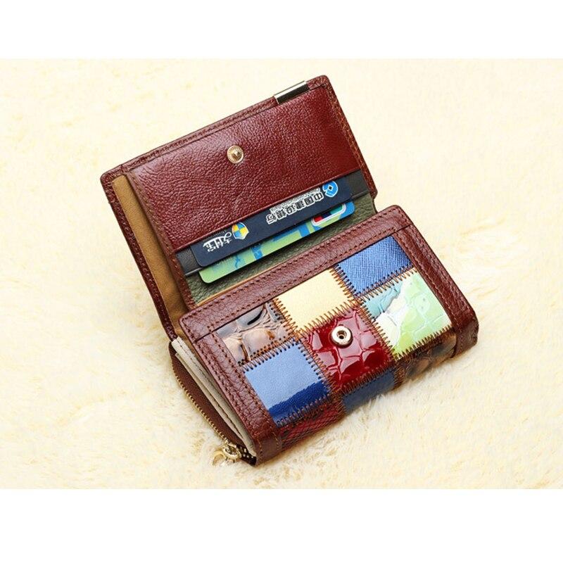 doce cor emenda senhora carteiras Material Principal : Couro Genuíno
