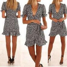 UK Women Short Sleeve Wrap Boho Floral Dress Ladies Summer Sundress Holiday Sexy Bodycon