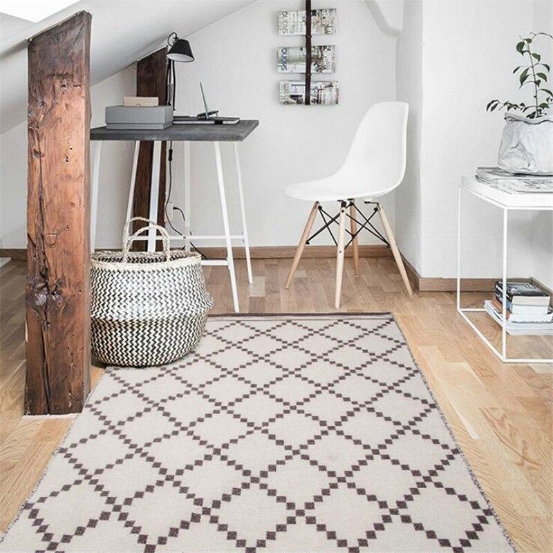 Nordic Style Pure Wool Weaving Carpets For Living Room Bedroom Kid Room Rugs Soft Wool Home Carpet Floor Door Mat Hot Area Rugs