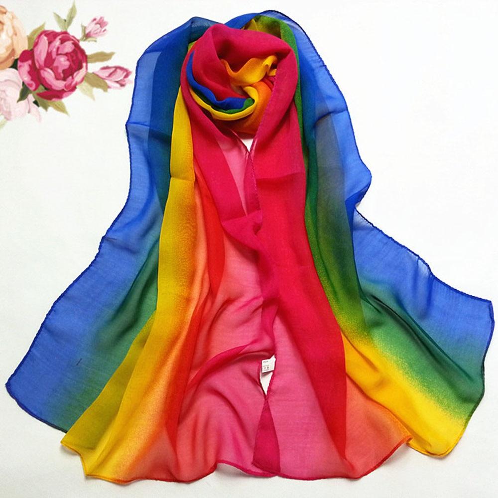 Lady   scarf   women Gradient rainbow Color Long   Wrap   Women's Shawl Chiffon   Scarf   foulard femme hijab   scarf   veil Hijabs   Scarf