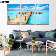 Large Canvas Prints Seascape Canvas Art, Tropical Ocean Photo Wall Decor Painting Posters, Wooden Pier Canvas Artwork, No Frame
