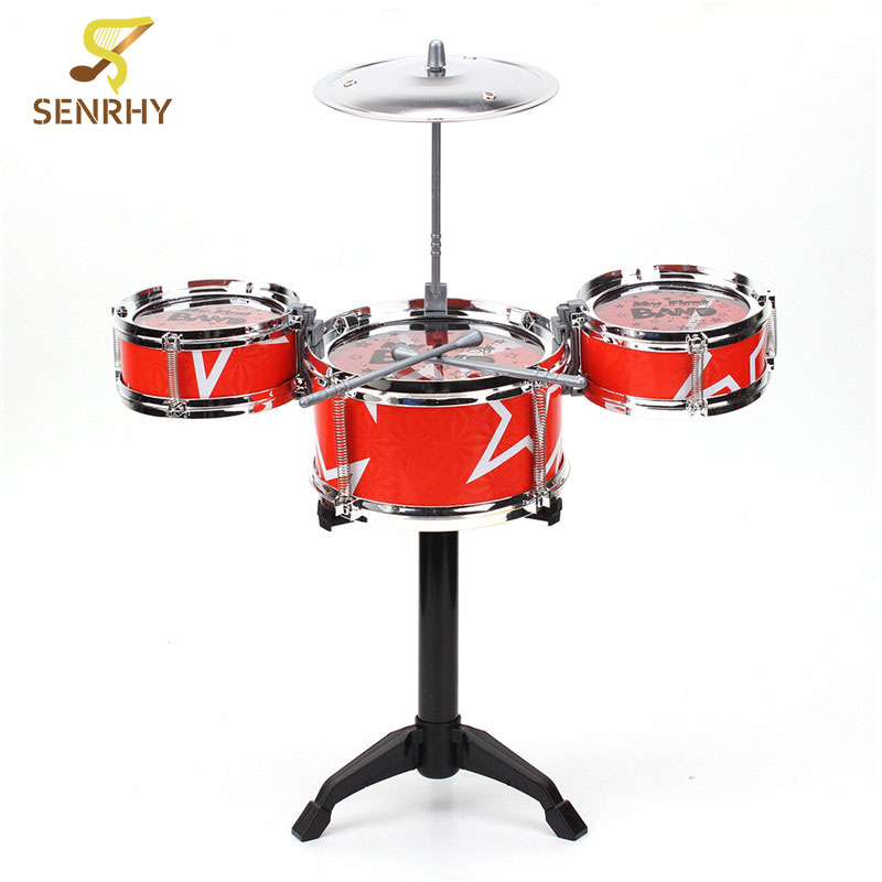New Arrival Red Blue Kids Toys Drum Kit Set Of Toy Music Hand Knocking Percussion Instruments