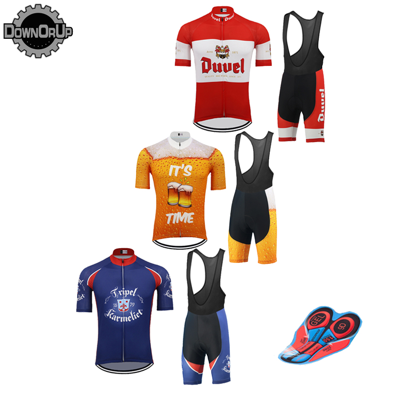 Retro BEER MEN cycling jersey set short sleeve RED/YELLOW/BLUE Bike Cycling Jersey 9D gel breathable pad MTB multiple choices