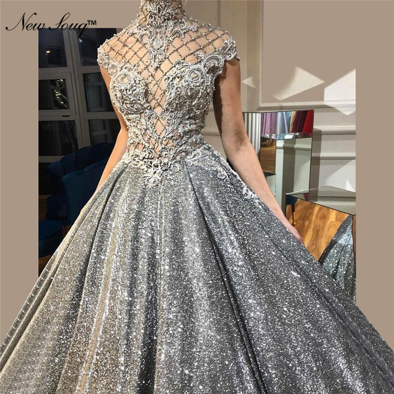 Glitter Arabic Evening Dress 2019 New Custom Dubai Abaya Islamic Robe De Soiree Turkish Middle East Formal Dress Prom Party Gown