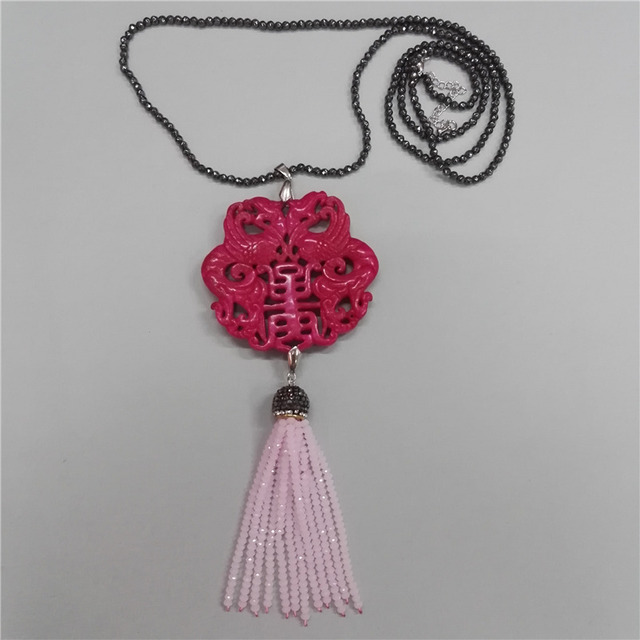 Charms Classic Traditional Chinese Ancient Vintage Pattern Rose Pink Stone  Angular Beaded Tassel Hematite Chain Pendant Necklace ee0f49873005