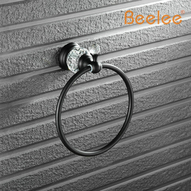 Beelee BA5211B Crystal Copper Oil Rubbed Bronze Finished Square Towel Ring,Towel Holder,Towel Bar Bathroom Accessories oil rubbed bronze bathroom tooth brush holder dual ceramic cups crystal holder