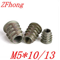 50PCS M5*10/13 Zinc Alloy Thread For Wood Insert Nut Flanged Hex Drive Head Furniture Nuts