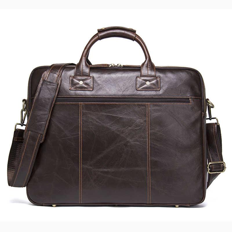حقيبة جلد أصلي للرجال من CONTACT'S حقائب كتف ماركة فاخرة حقيبة ساعي للرجال حقيبة يد جديدة للأعمال لعام 15.6 حقيبة كمبيوتر محمول