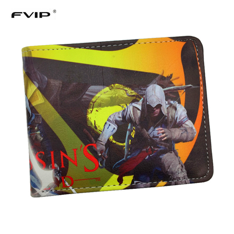 FVIP Game Wallet Assassin's Creed Master Assassin Altair Wallet For Young Boy Girl Student Leather Short Money Bag Wallet fashion anime cartoon wallets call box doctor who wallet leather slim purse bifold short money bag clip young boy student wallet