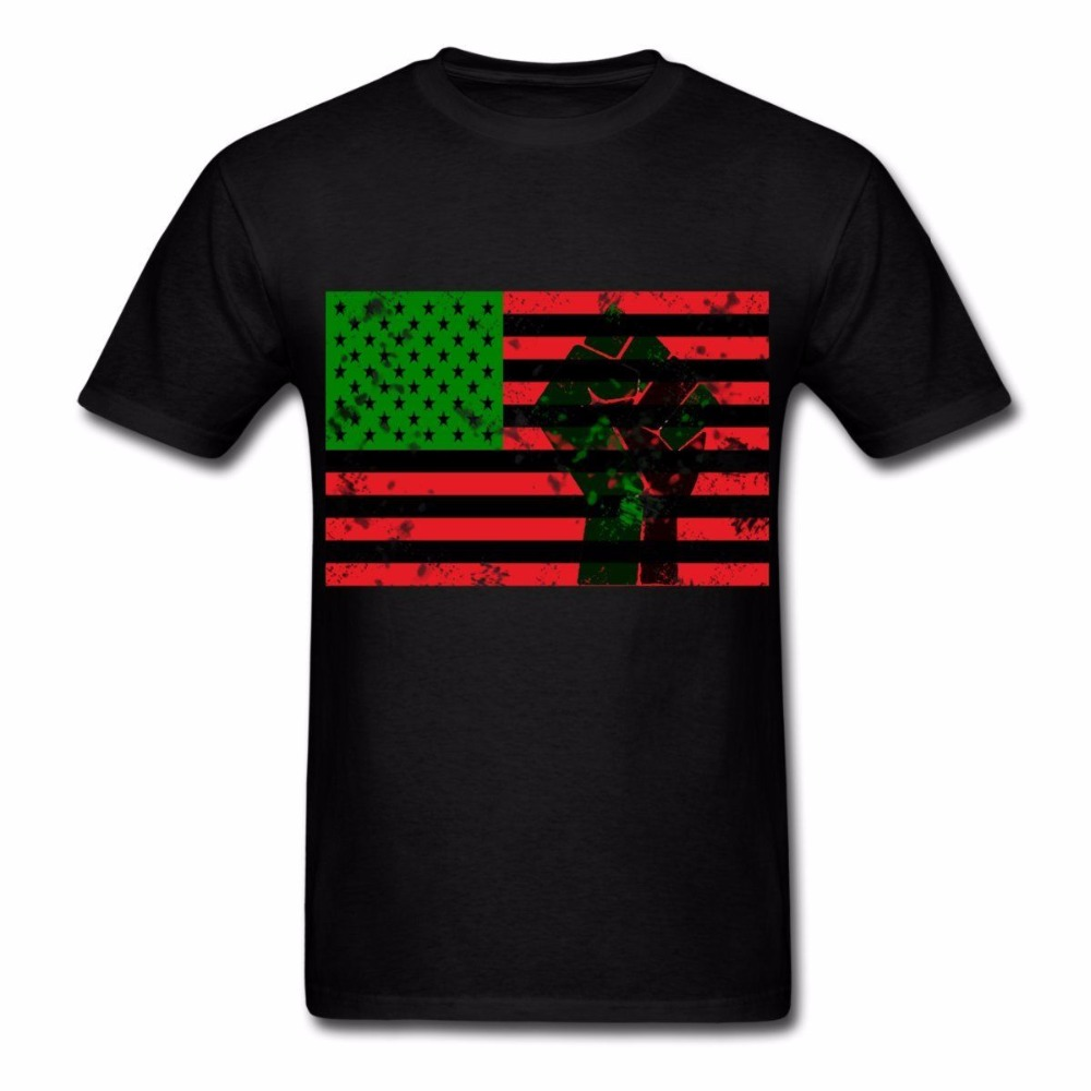 2018 Short Sleeve O Neck Casual MenS T-Shirt Casual Short Sleeve For Men Clothing Summer Pan African Flag With Fist MenS Tees