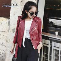 2016 Womens Sexy Winter Slim Biker Motorcycle PU Leather Jacket Zipper Coat WLDE