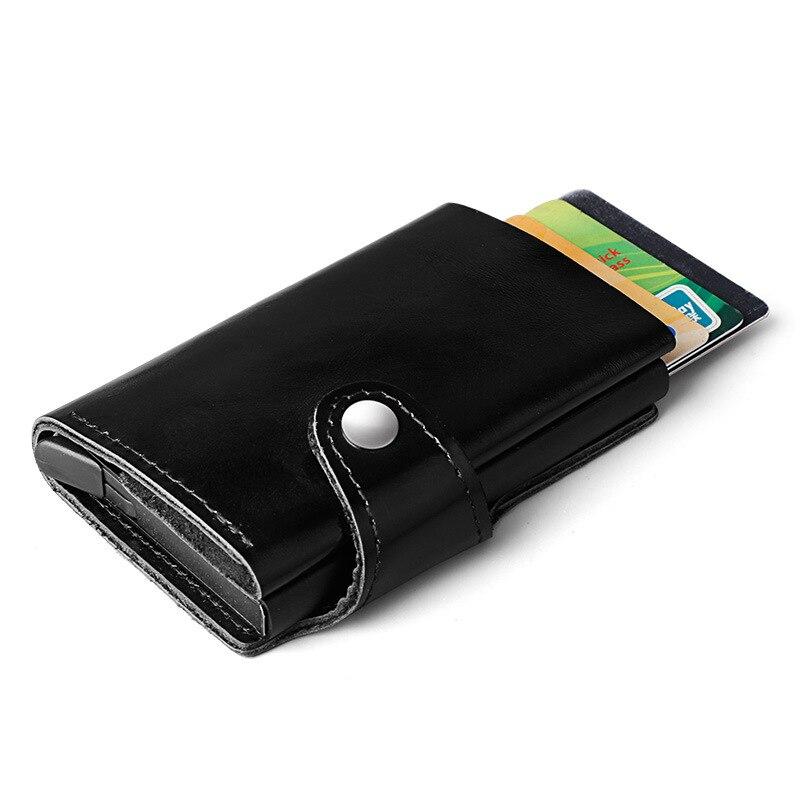 Rfid Blocking Metal Travel Card Wallet Genuine Leather Automatic Click Slide Card Holder Leather Safe Bank Card Case slide wallet