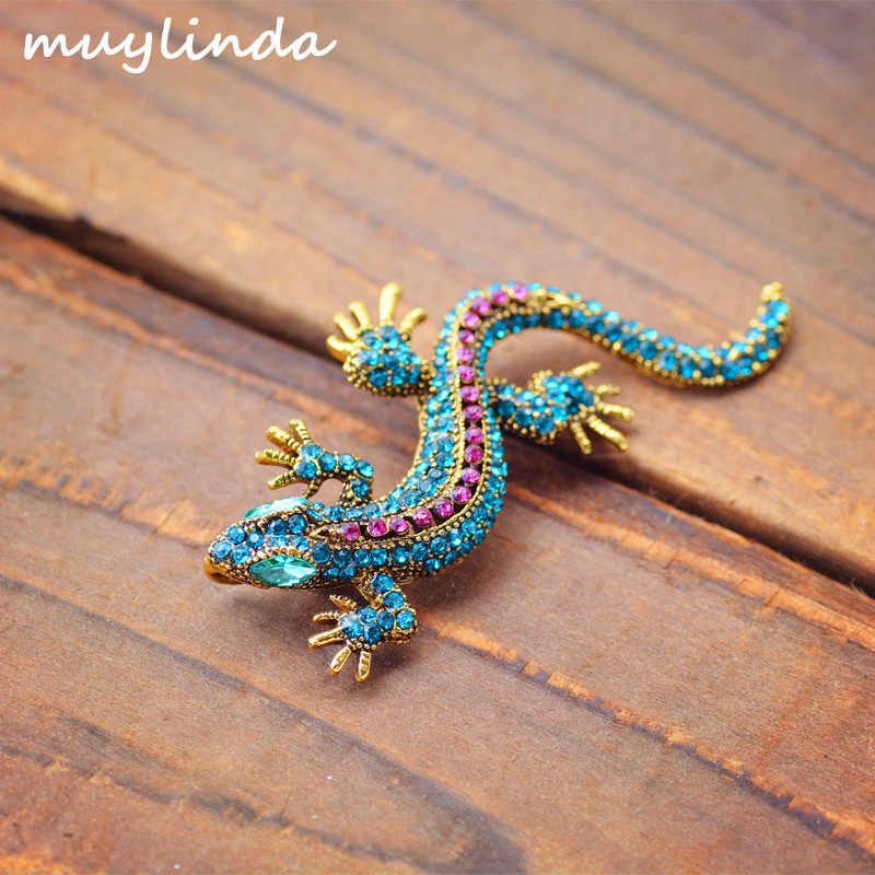 Unique Lizard Rhinestone Brooch Pin Women Geckos Party Dorcus Pin and Brooch Clothes Jewelry Vintage Metal Brosch