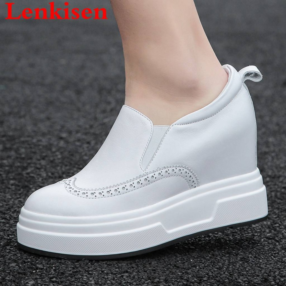 Lenkisen volnerf lederen slip op verhoogde casual schoenen ronde neus loafers comfortabele ademende dating gevulkaniseerd schoenen L11-in Sneakers voor vrouwen van Schoenen op  Groep 1