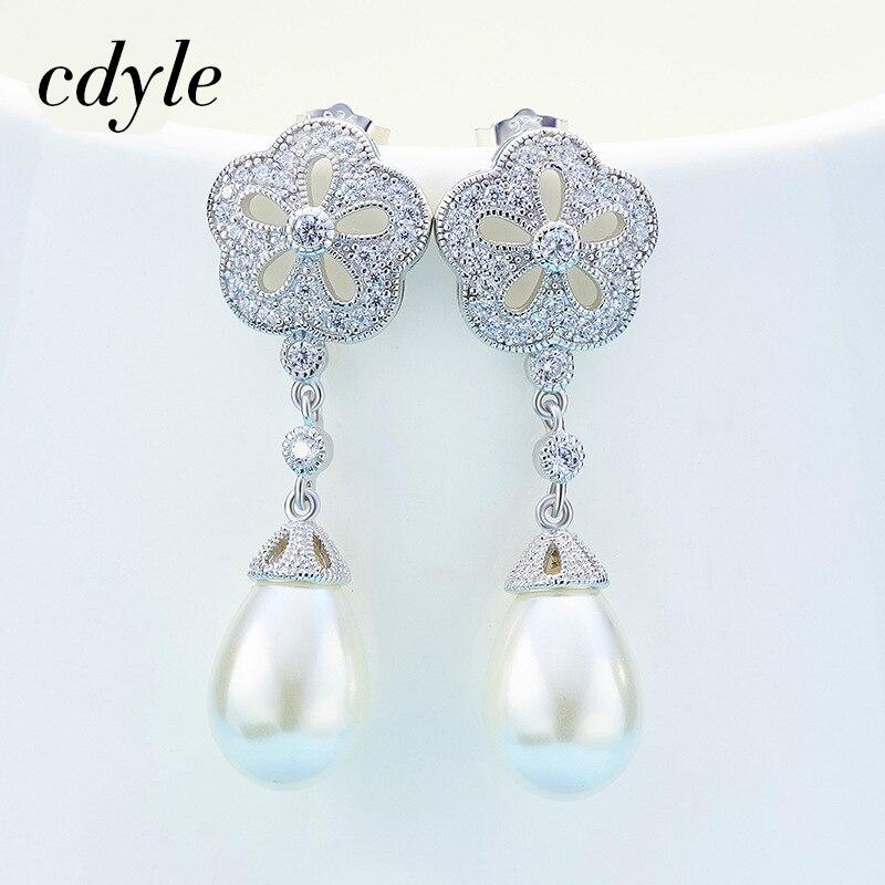 Cdyle Elegant Dangle Earrings Fashion Women Earrings S925 Sterling Silver Jewelry Australian Rhinestone Paved Pearl Earrings pair of elegant spiral tiered rhinestone dangle earrings
