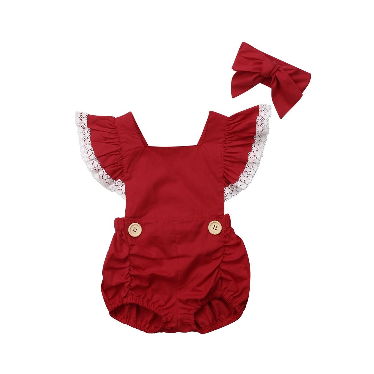 Christmas Newborn Baby Girl Clothes Ruffles Lace Sleeve Back Cross Princess Romper Jumpsuit Headband 2PCS Xmas Clothes