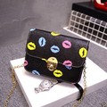 2017 Spring Summer Woman Handbags Printing Mini Cover Bag Fashion Messenger Bolos Lips Chain Leather Shoulder Bags
