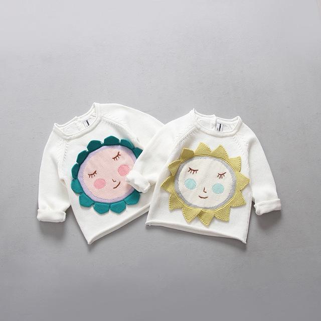 Niñas suéter venta caliente otoño primavera uno de manga larga de cuello verde azul girasol knit cardigan ropa de los niños