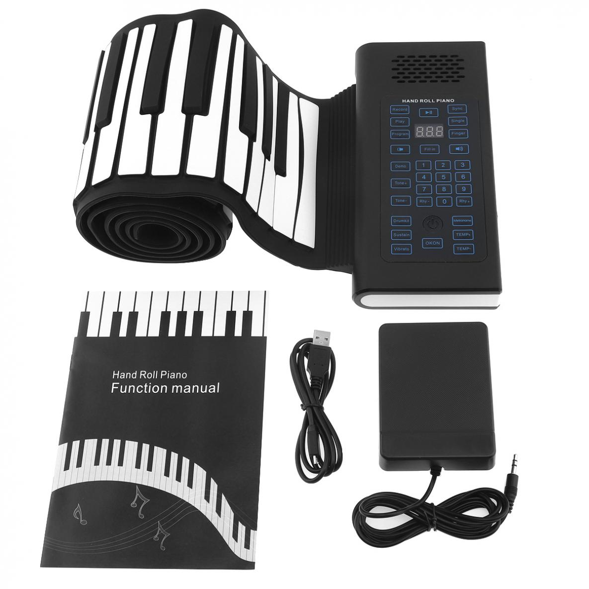 Купить с кэшбэком 88 Keys USB MIDI Output Roll Up Piano Rechargeable Electronic Flexible Keyboard Organ Built-in Speaker with Sustain Pedal